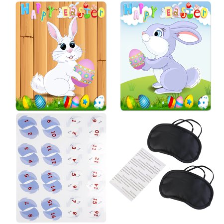 Pin The Tail On The Bunny - BESTOYARD Happy Easter Pin the Tail on the Bunny Game with 2pcs Bunny Poster & 2-type Tail & 2pcs Eye Patch & 8pcs Sticker