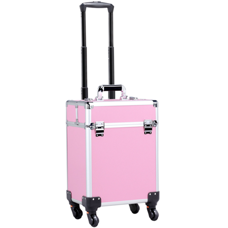 - 2 in 1 Aluminum Portable Cosmetic Beauty Hairdressing Makeup Box Case Storage Trolley Pink