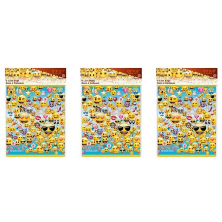 (4 Pack) Plastic Emoji Goodie Bags, 9 x 7 in, 8ct