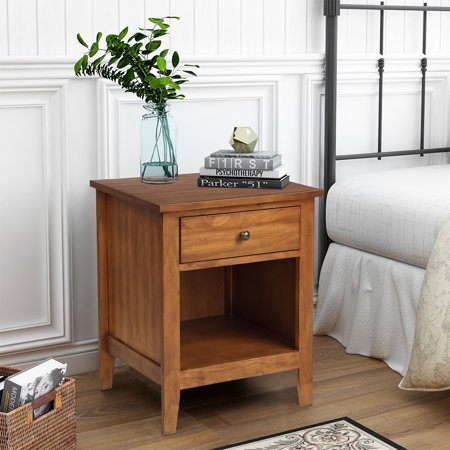 URHOMEPRO Solid Wood Nightstand, One Drawer One Shelf Bedroom Side Table Bedside Table, Heavy Duty Chest of Drawers, Compact Storage Drawers, Vertical Storage Cabinet for Bedroom, Wood, Q12186
