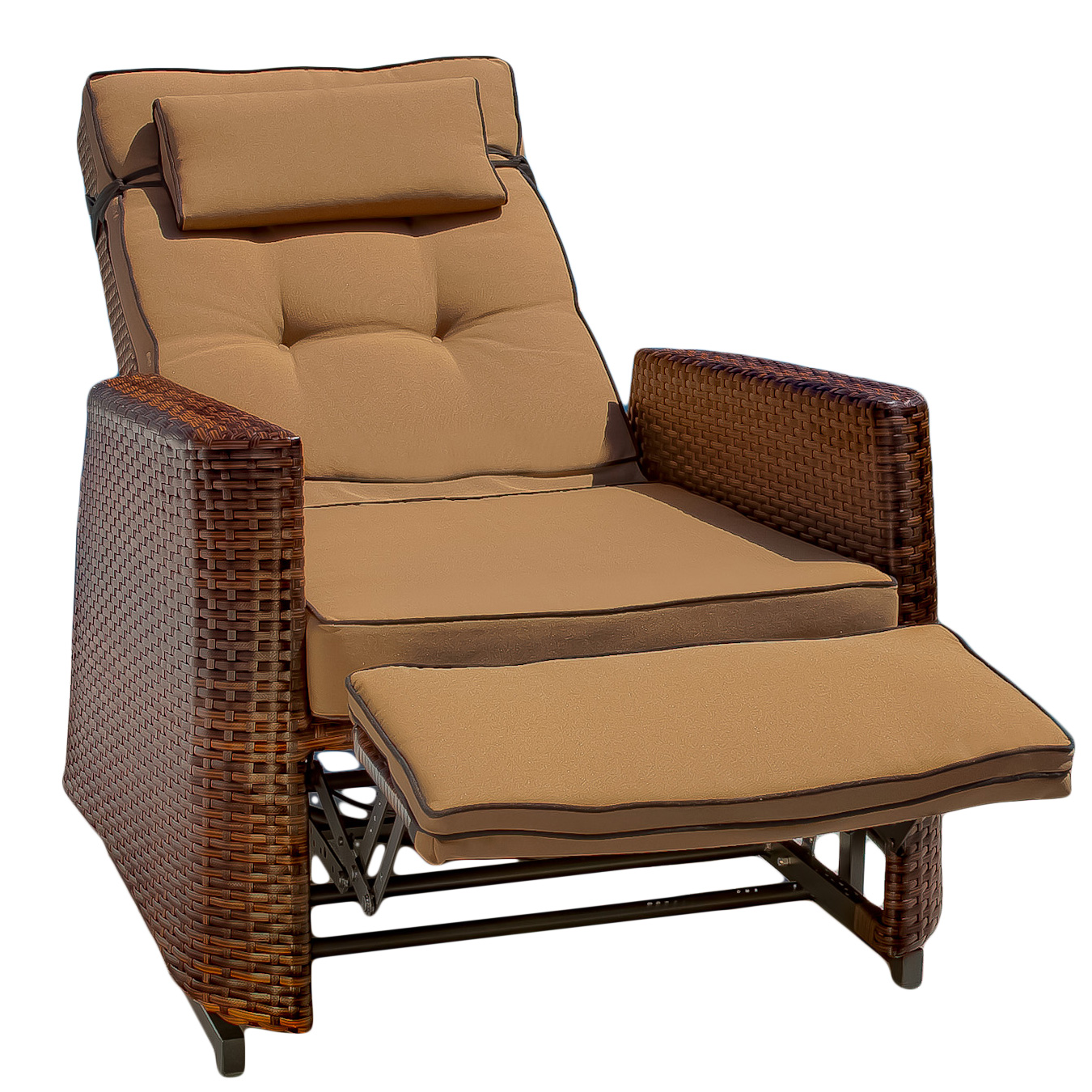 Brown Wicker Outdoor Recliner Rocking Chair with Cushions
