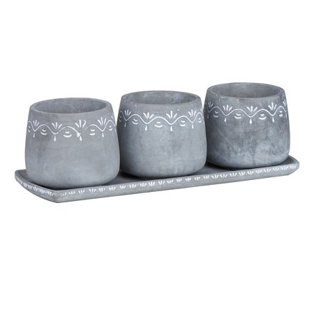 Mainstays Jolie 3-Piece Cement Herb Planter Set with Tray