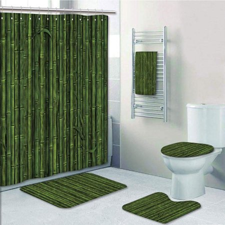 EREHome Bamboo Lined Up Tall Bamboo Stems Sticks Growth Environment Ecology 5 Piece Bathroom Set Shower Curtain Bath Towel Bath Rug Contour Mat and Toilet Lid Cover - image 1 of 2