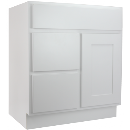 Cabinet mania white shaker 30 inch bathroom vanity with for Bathroom cabinets rta