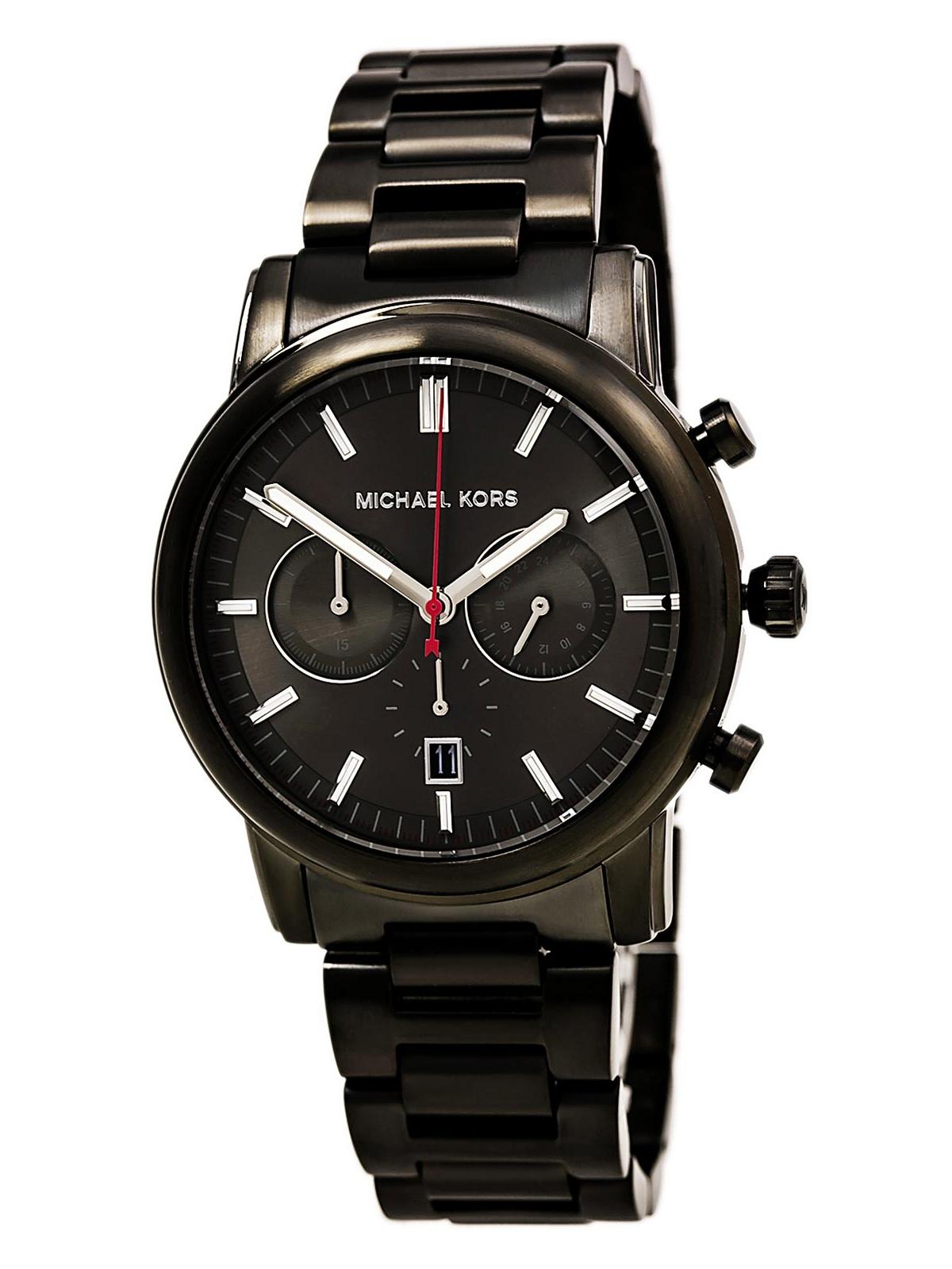 Michael Kors MK8371 Men's Pennant Gunmetal Dial Gunmetal IP Steel Bracelet Chronograph Watch