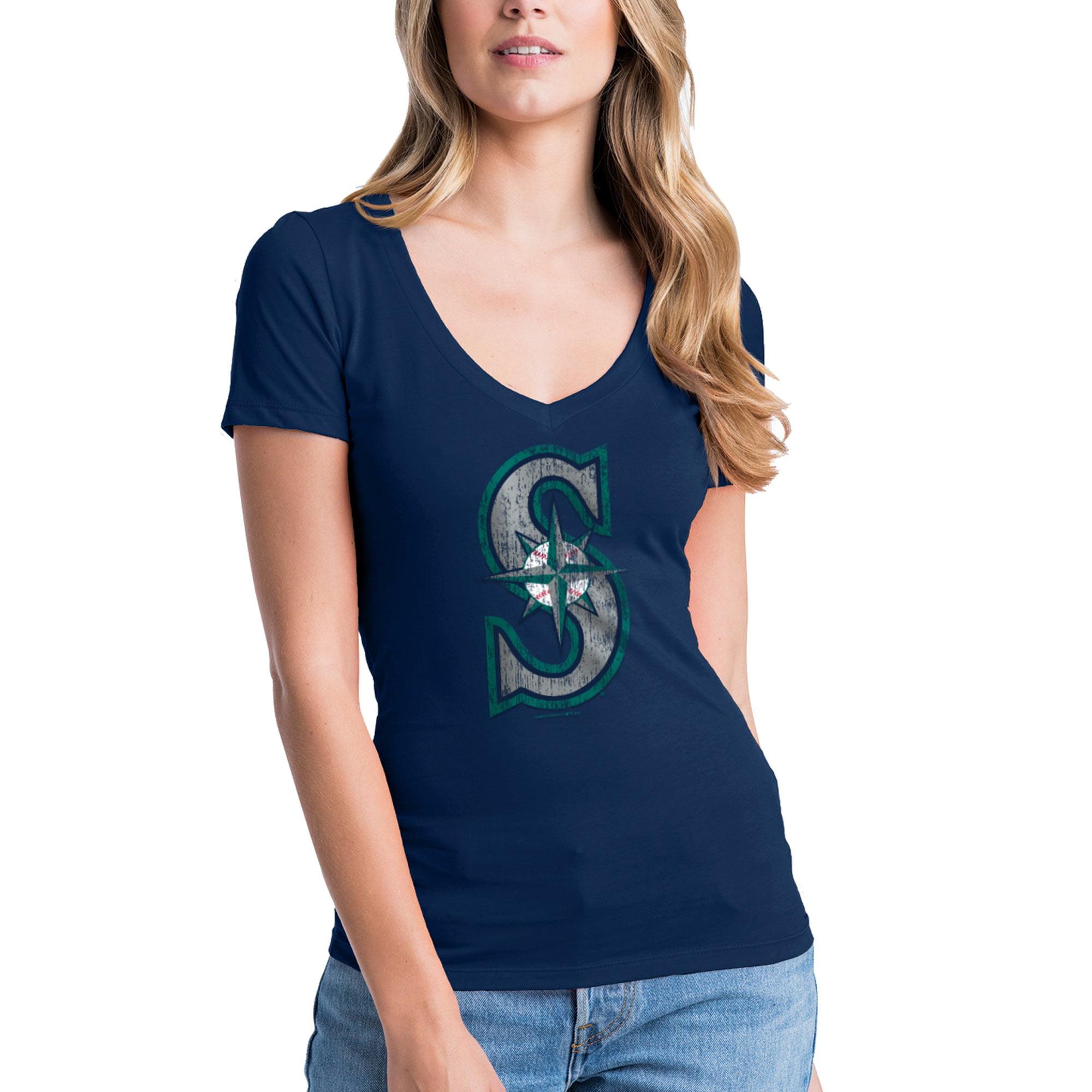 Seattle Mariners New Era Women's V-Neck T-Shirt - Navy