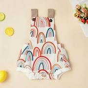 Binpure Baby Girl's Rainbow Print Sleeveless Romper Backless Summer Clothes