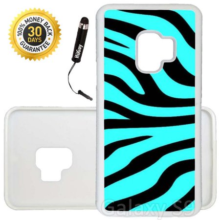 Custom Galaxy S9 Case (Teal Black Zebra Stripes) Edge-to-Edge Rubber White Cover Ultra Slim | Lightweight | Includes Stylus Pen by Innosub