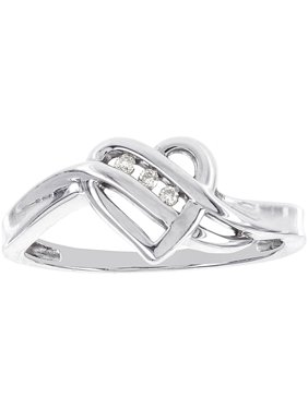 Diamond Accented 14kt White Gold Heart-Shaped Ring