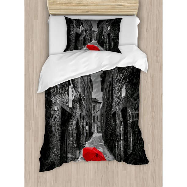 Black And White Duvet Cover Set Red