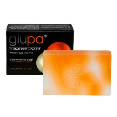 Glupa Lightening Soap with Glutathione & Papaya - Plus Vitamins C & E, Arbutin, Grape Seed Extract Large Bar