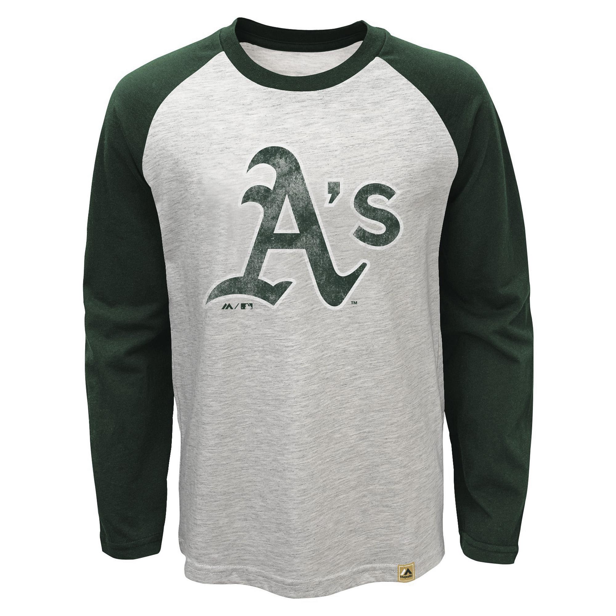 Oakland Athletics Majestic Youth American Baseball Long Sleeve Raglan T-Shirt - Cream/Green