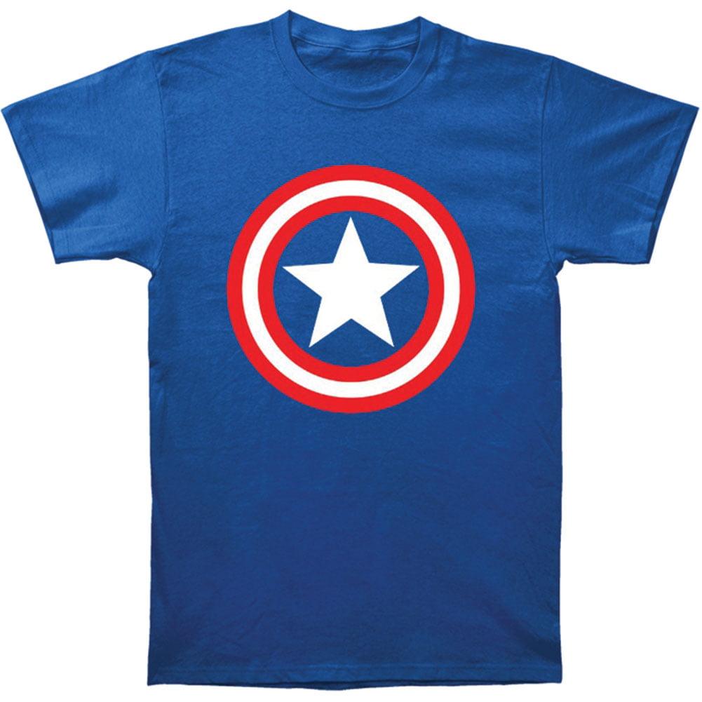 Captain America Marvel Superhero Comics Shield on Royal Adult T-Shirt Tee