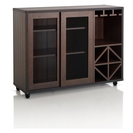 Furniture of America Helibra Walnut Contemporary 2-Sliding Door (Contemporary Walnut Cabinet)