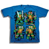 TMNT Retro 8-Bit 3D Group Shot Boys' Short Sleeve Graphic Tee T-Shirt