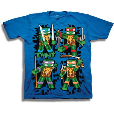TMNT Retro 8-Bit 3D Group Shot Boys' Short Sleeve Graphic Tee T-Shirt - Tmnt Shirts For Adults