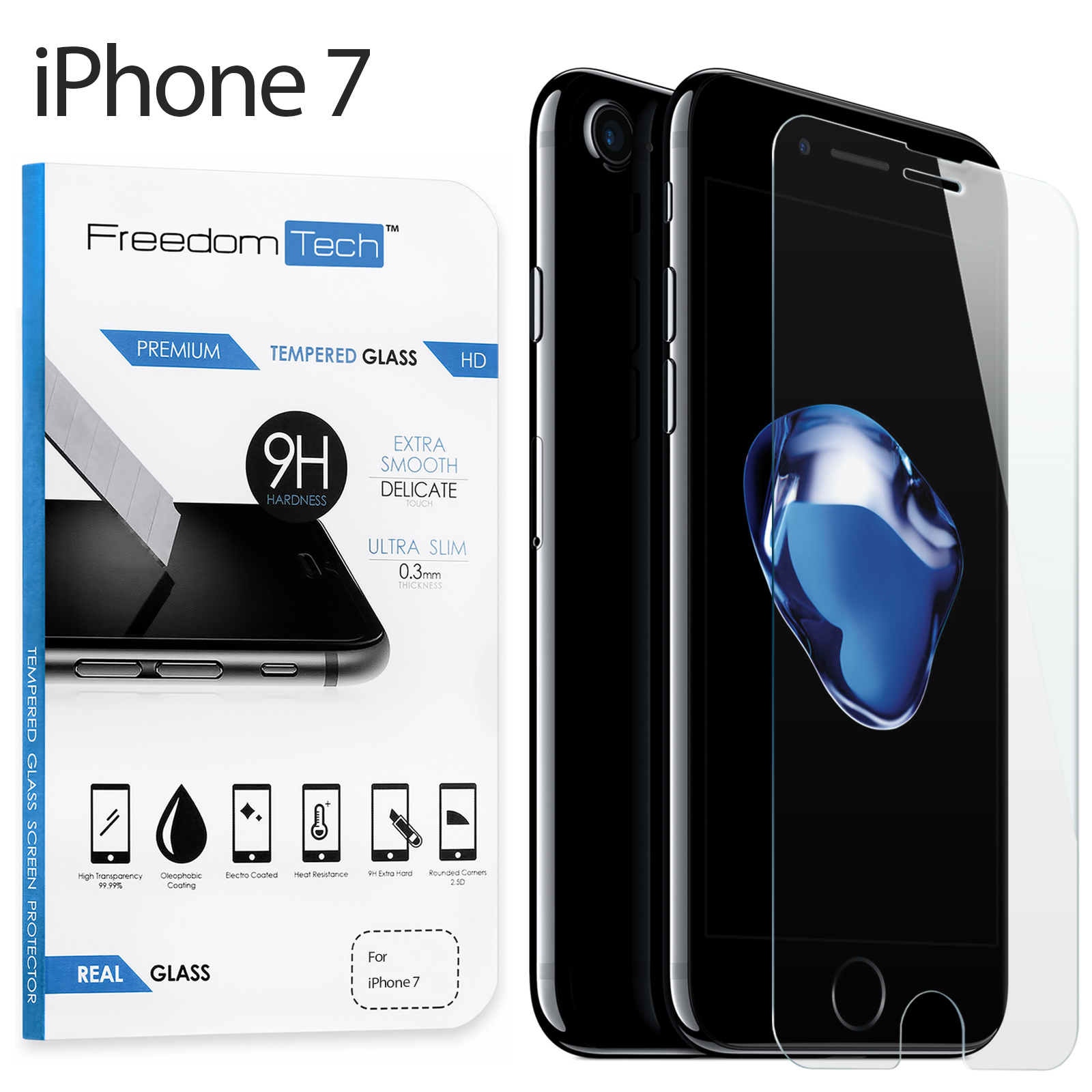 Freedomtech iPhone 7 Screen Protector Real Tempered Glass Film LCD Guard