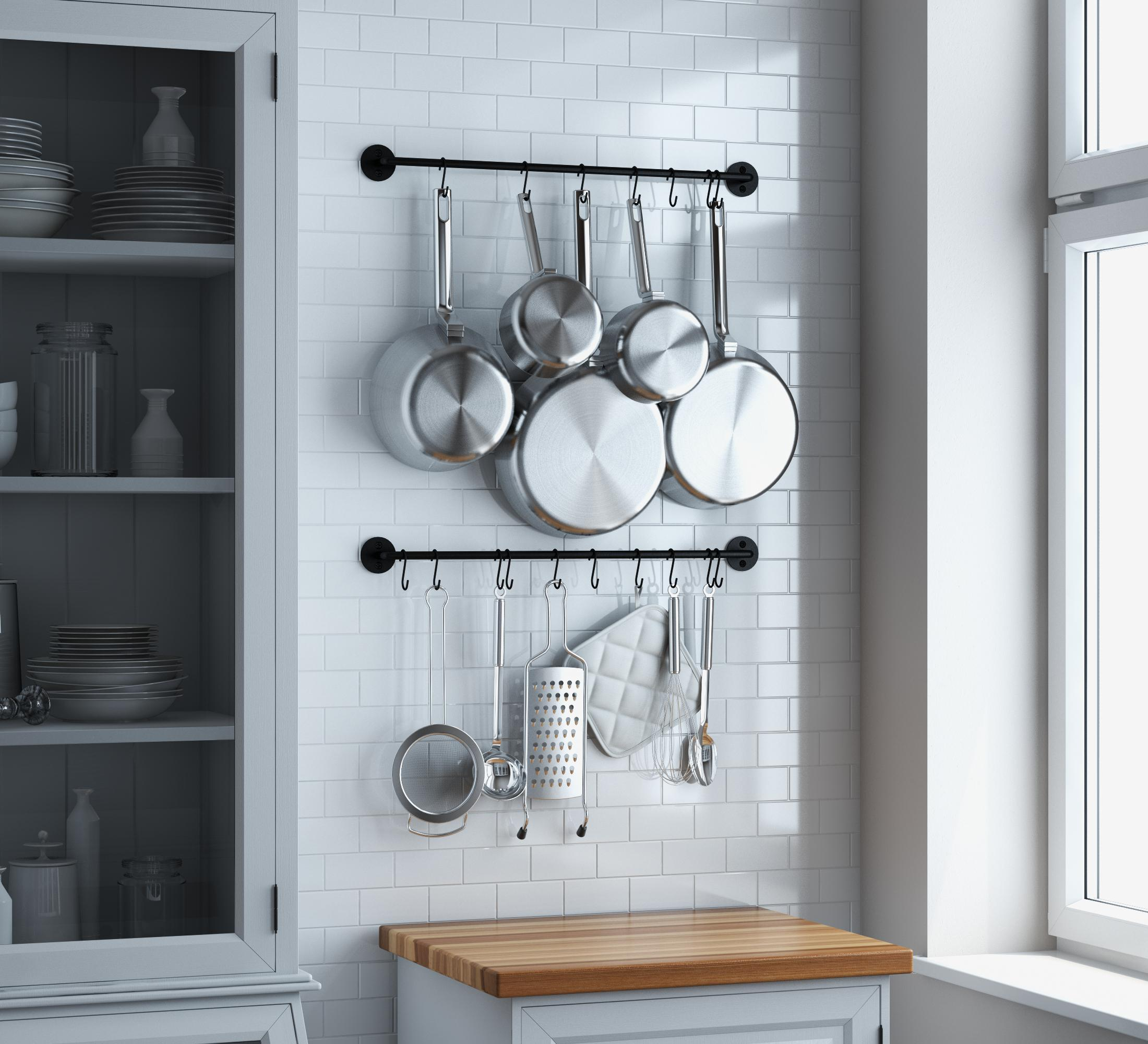 vrsupin0 Kitchen Sliding Hooks,Stainless Steel Hanging Rack Rail Organize Kitchen Tools With 6//8 Utensil Removable S Hooks Wall-Mounted Storage Hook For Bathroom And Kitchen