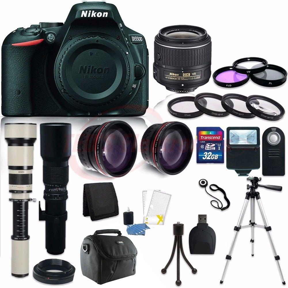Nikon D5500 24.2 MP DSLR Camera + 18-55mm VR + 500mm Tele...