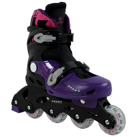 Kids Adjustable Inline Skates Girls Krown Superspeed Size M (3.5 - 6) (Light Up Roller Skate Necklace)
