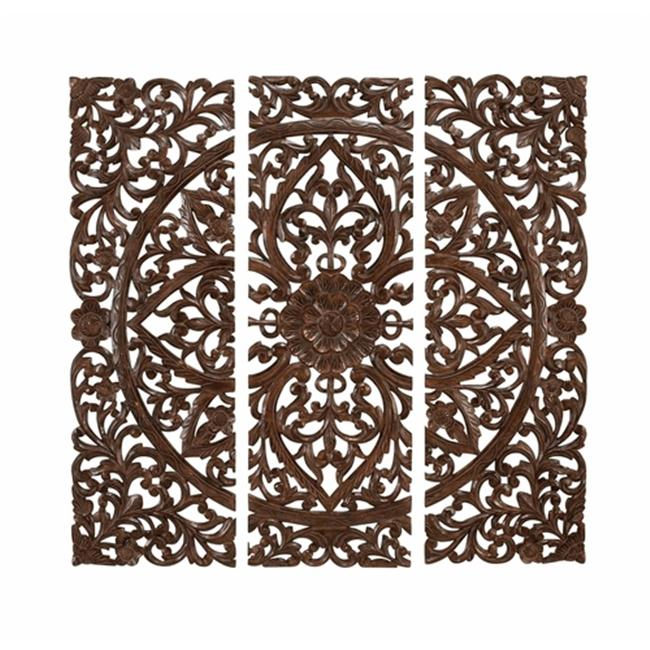 Benzara 14255 48 in. Set of 3 Hand Carved Wood Wall Panels Sculpture