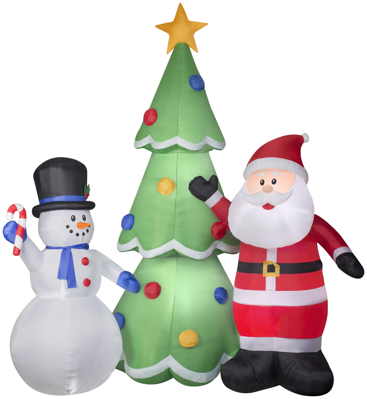 Airblown Inflatables Santa And Snowman Tree Scene Walmart Com Walmart Com