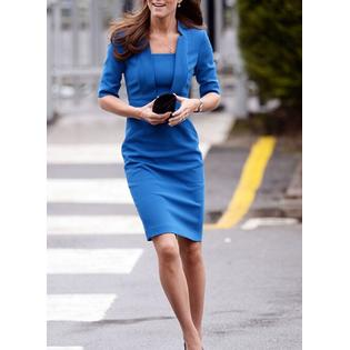 Kate Middleton Wrinkle Based Top Collar Neck Knee Length Dress Blue (Fur Collar Dress)