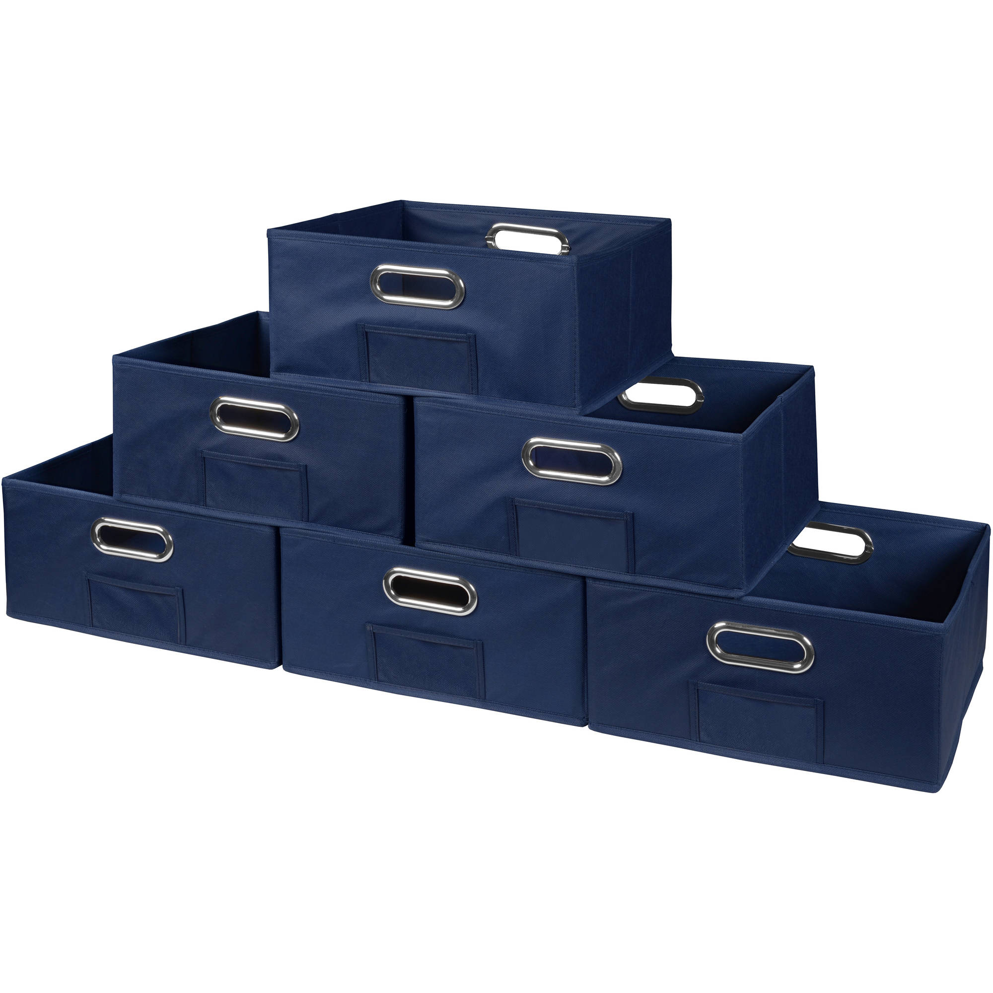 Niche Cubo Set of 6 Half-Size Foldable Fabric Storage Bins- Blue