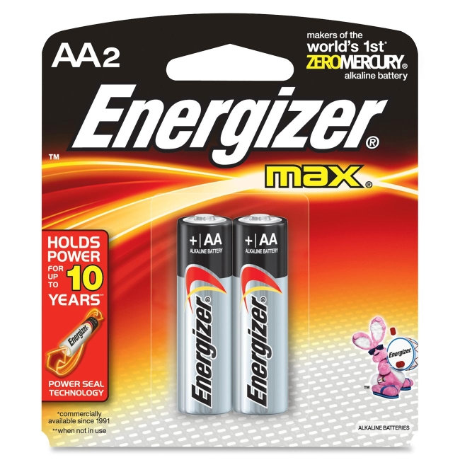 Energizer Alkaline Battery, Size: AA - Pack of 2