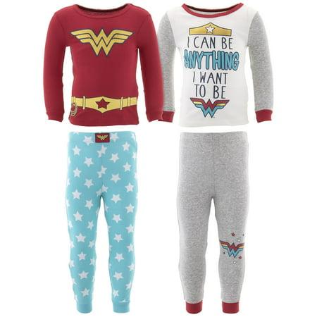 DC Comics Girls Wonder Woman Cotton 2-Pack Pajamas - Superhero Onesies For Women