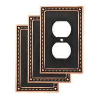 Franklin Brass Classic Beaded Single Duplex Wall Plate, 3 Pack