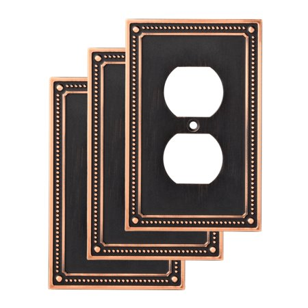 Franklin Brass Classic Beaded Single Duplex Wall Plate, 3 (Double Duplex Solid Brass)