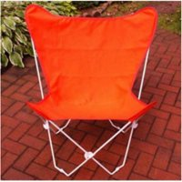 "35"" Retro Style Outdoor Patio Butterfly Chair with Orange Cotton Duck Fabric Cover"
