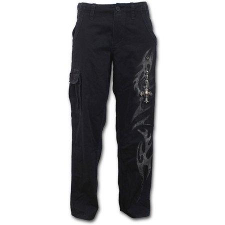 - Spiral Direct TRIBAL CHAIN Woven Vintage Cargo Trousers BlackTribal |Cross |Skulls |Fashion