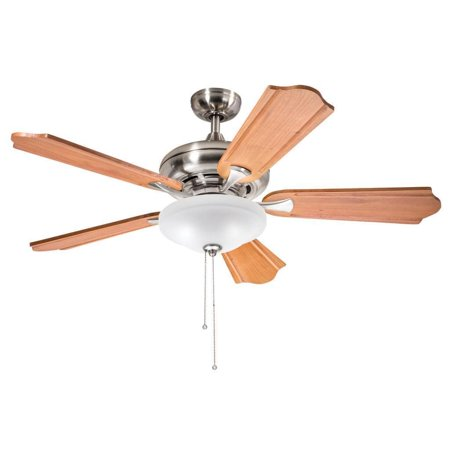 Aztec Lighting Kichler Lighting Traditional Brushed Nickel 52 inch Ceiling Fan with 2-light Kit and Carved Wood Blades
