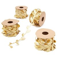 4 Rolls Vine Ribbon Trim, Artificial Fake Gold Leaf Leaves Garland for Wedding Bridal Shower Party Garden Home Decoration, DIY Crafts and Gift Wreaths Wrapping, Metallic Gold