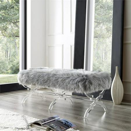 Fine Brayden Grey Faux Fur Bench Modern Acrylic X Legs Upholstered Lamtechconsult Wood Chair Design Ideas Lamtechconsultcom