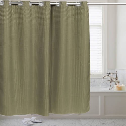 Fabric Shower Curtain Waffle Weave Hookless with Snap Off Liner