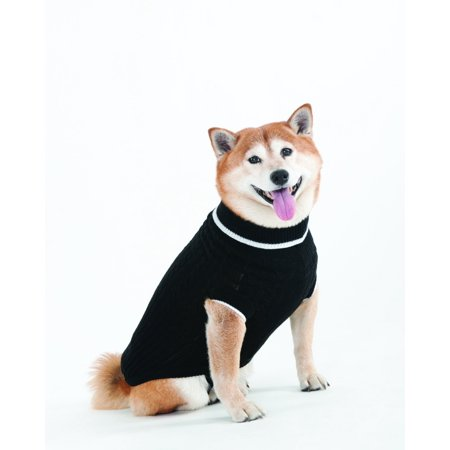 Lookin Good Classic Cable Sweater for Dogs, Medium, Black, Made Of 100-Percent Acrylic It Has A Cable Pattern Running Down The Back By Fashion Pet