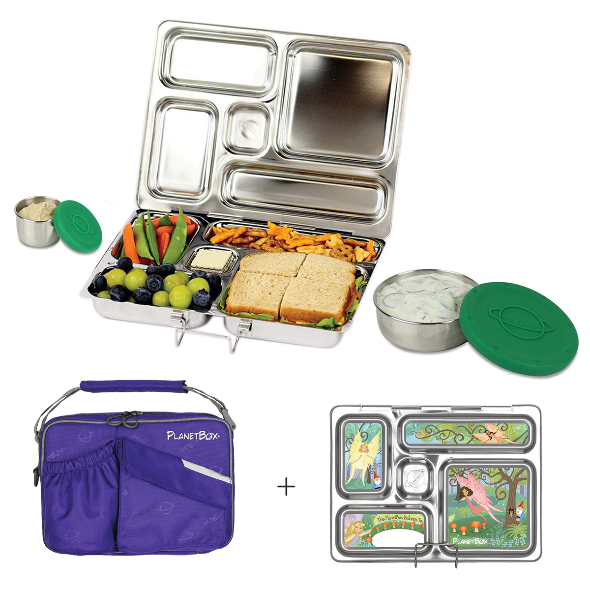 PlanetBox Rover Lunchbox - Purple Carry Bag with Fairies ...