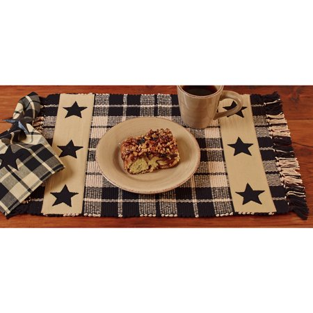 Primitive Farmhouse Star Country Placemat Set of 6, Burgundy or Black and Tan