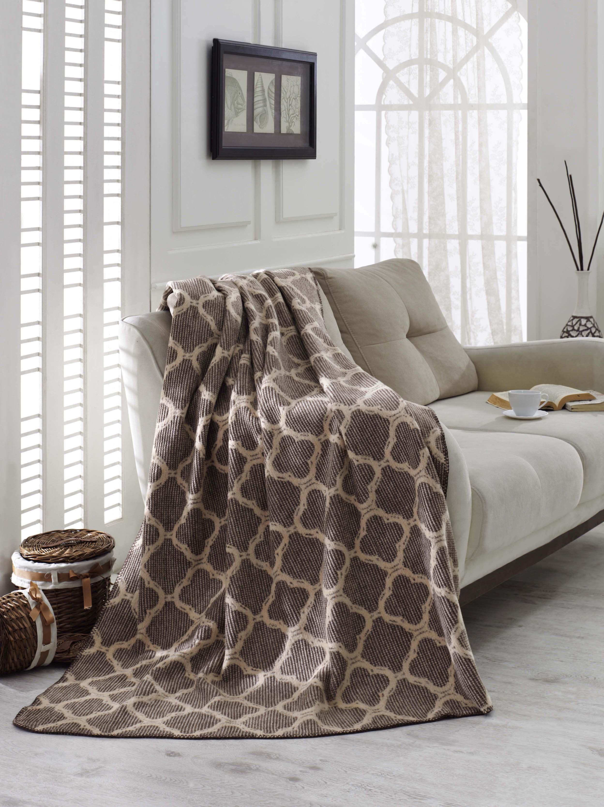 Ottomanson Plush Soft Cotton Reversible, Striped, Solid and Trellis Fleece Throw Blankets,... by Ottomanson