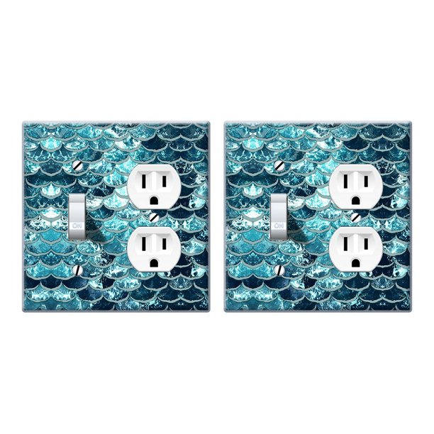 Wirester Double 1 Gang Toggle Light And 1 Gang Duplex Outlet Switch Plate Wall Plate Cover 2pcs Mermaid Scales Blue Wave Walmart Com Walmart Com