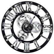 "Chevy K 16"" Round Wall Clock, Antique Handmade Wooden Vintage 3D Gear Design (Silver Roman Numerals)"