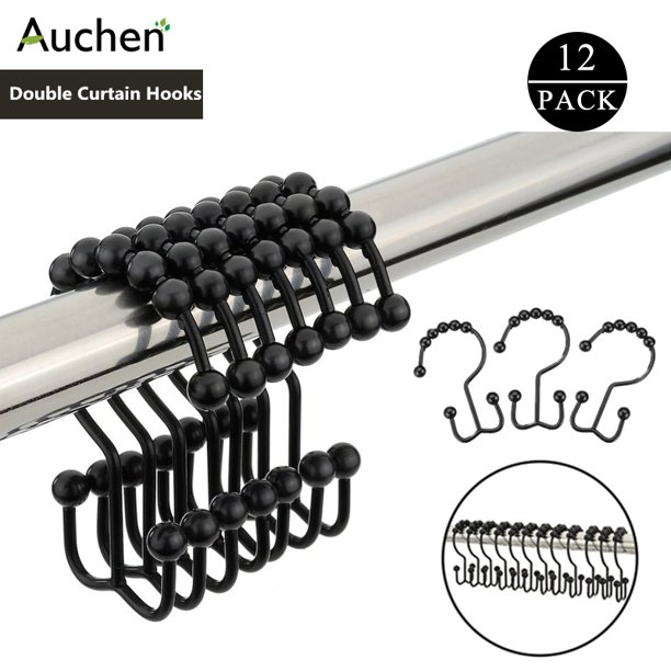 AUCHEN New Upgraded Set Of 12 Shower Curtain Hooks