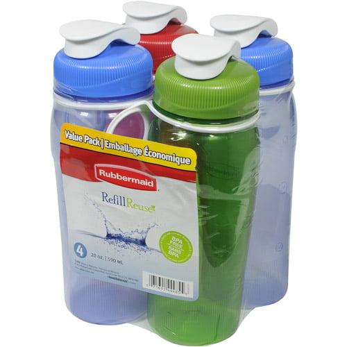 Rubbermaid 20-oz Reusable Chug Bottles, 4pk