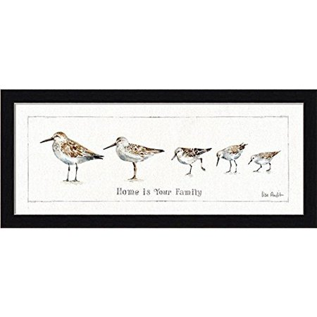 FRAMED Pebbles and Sandpipers II - Home is Your Family by By Lisa Audit 8x20 Coastal Art Print Poster Country Black Frame - Lisa Frame
