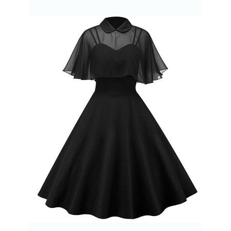 Vintage Swing Dresses for Women Retro 1950s 60s Rockabilly Evening Cocktail Party Pinup Straps Homecoming Dress + Cloak - 60s Attire