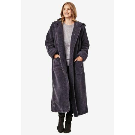 f4cdbde350d Woman Within - Woman Within Plus Size Petite Hooded Berber Fleece Duster  Coat - Walmart.com