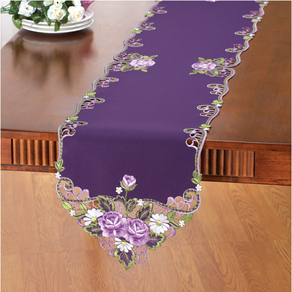 Elegant Embroidered Rose Table Linens, Runner, Purple by Collections Etc